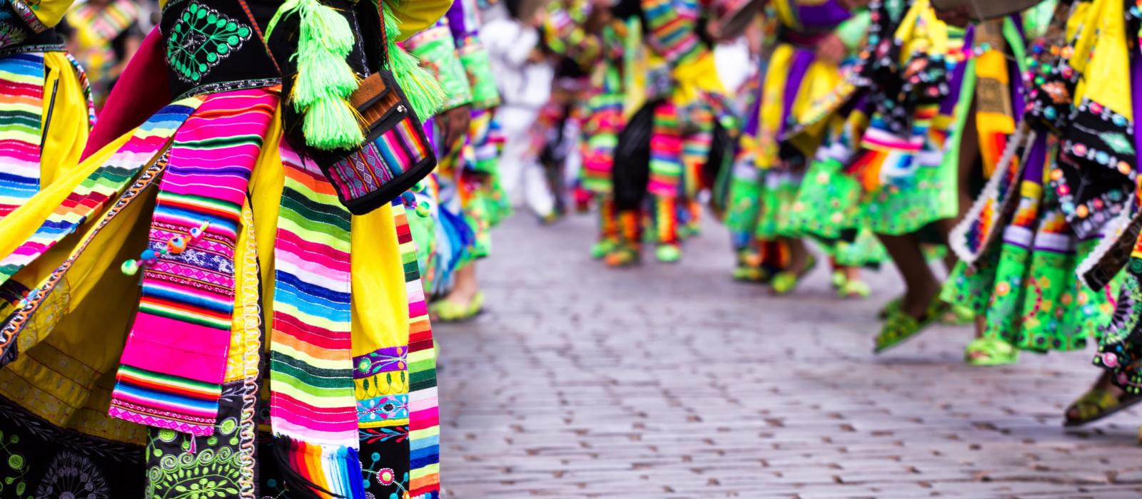 Peruvian dancers at the parade in Cusco, Peru, South America