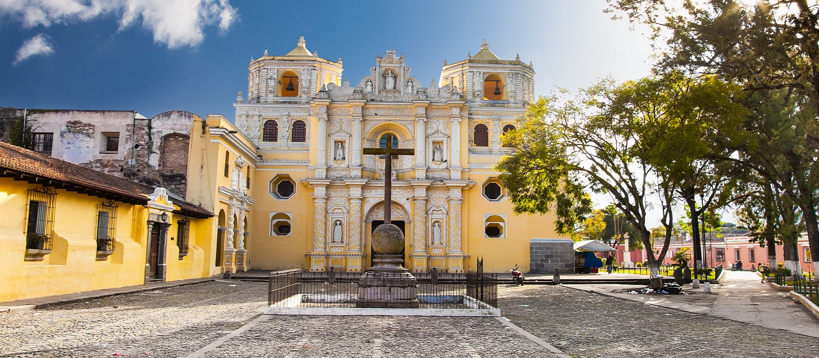 History of Guatemala - Enchanting Travels Guatemala Tours La Merced church in central park of Antigua