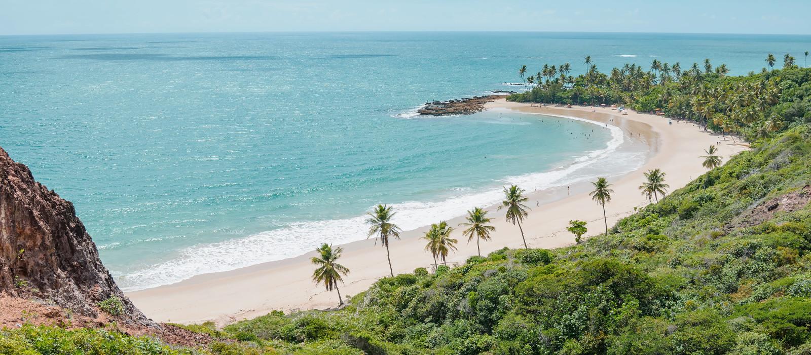 Luftbildansicht von Praia de Coqueirinho at Costa do Conde, Brasilien