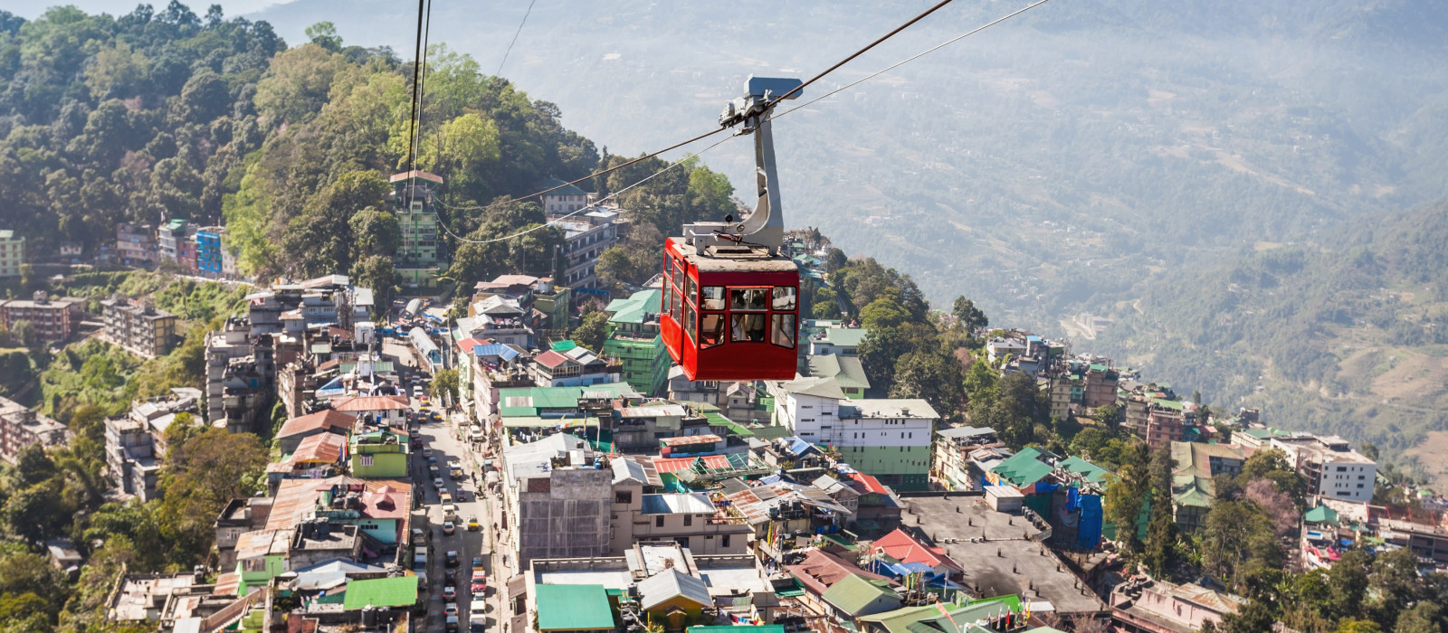 Bergbahn in Gangtok, Indien