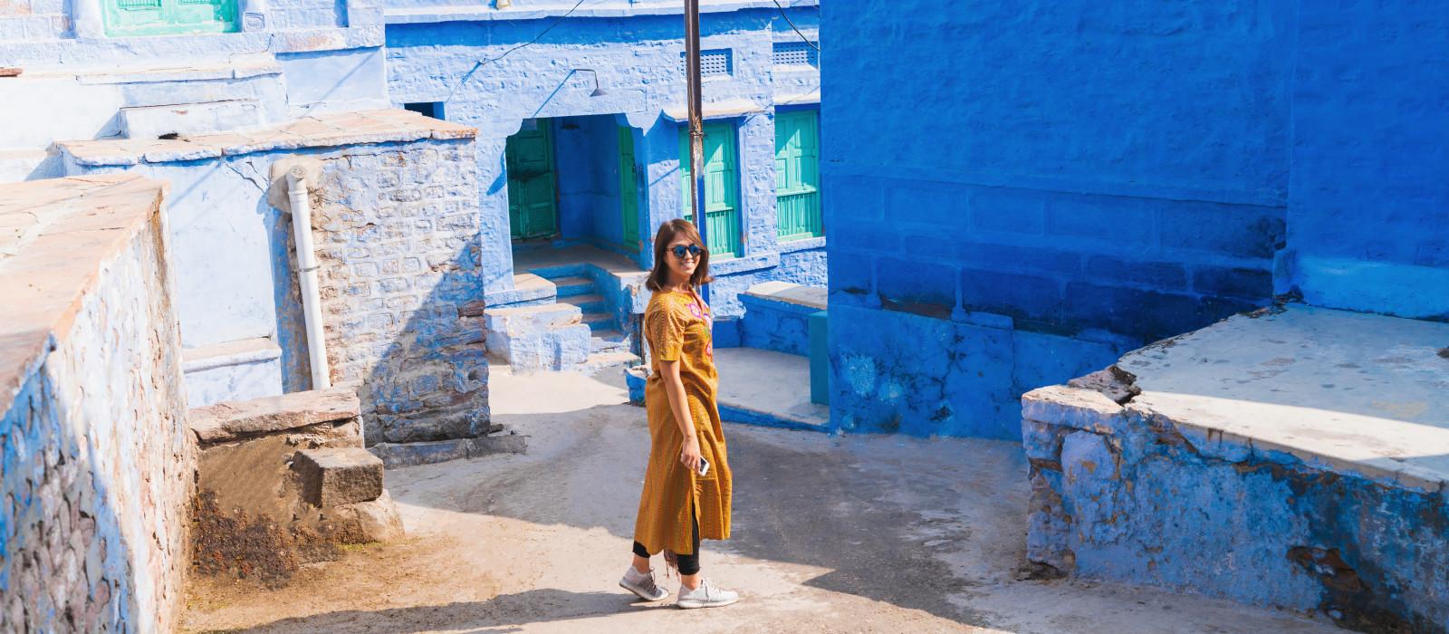 Beautiful Traveler explore in Heart of Blue City, Jodhpur, Rajasthan - India