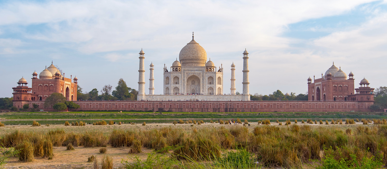Breathtaking view of Taj Mahal from distance, Agra, India