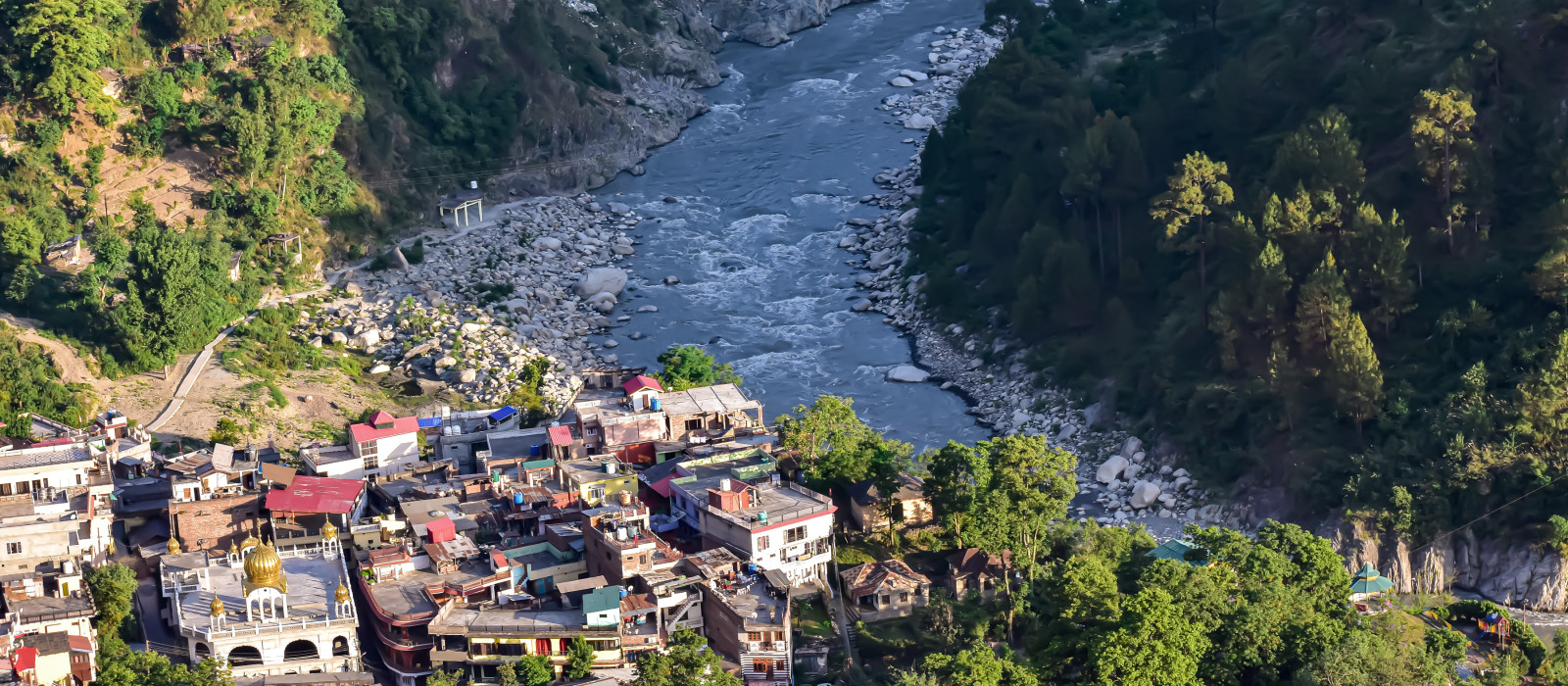 Top view of the house and village in the bank of river from the mountain in north India