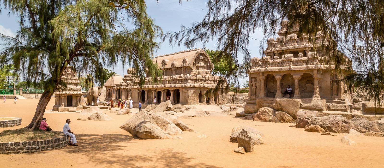 Fünf Rathaus in Mahabalipuram, Tamil Nadu, Indien