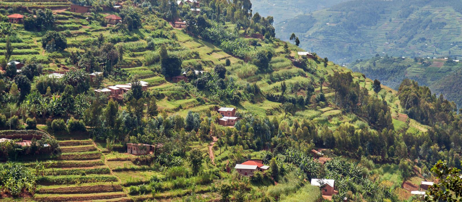Ein steiler Hügel im Tal des Muvumba-Flusses in Ruanda, Afrika