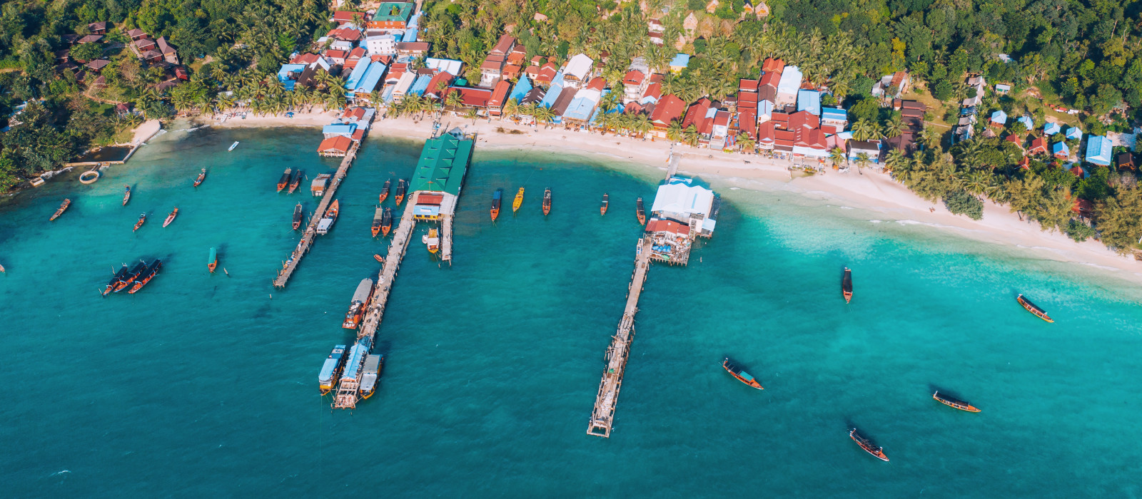 Cambodia aerial view of Koh Rong island , village on the beach nearby ocean, Asia