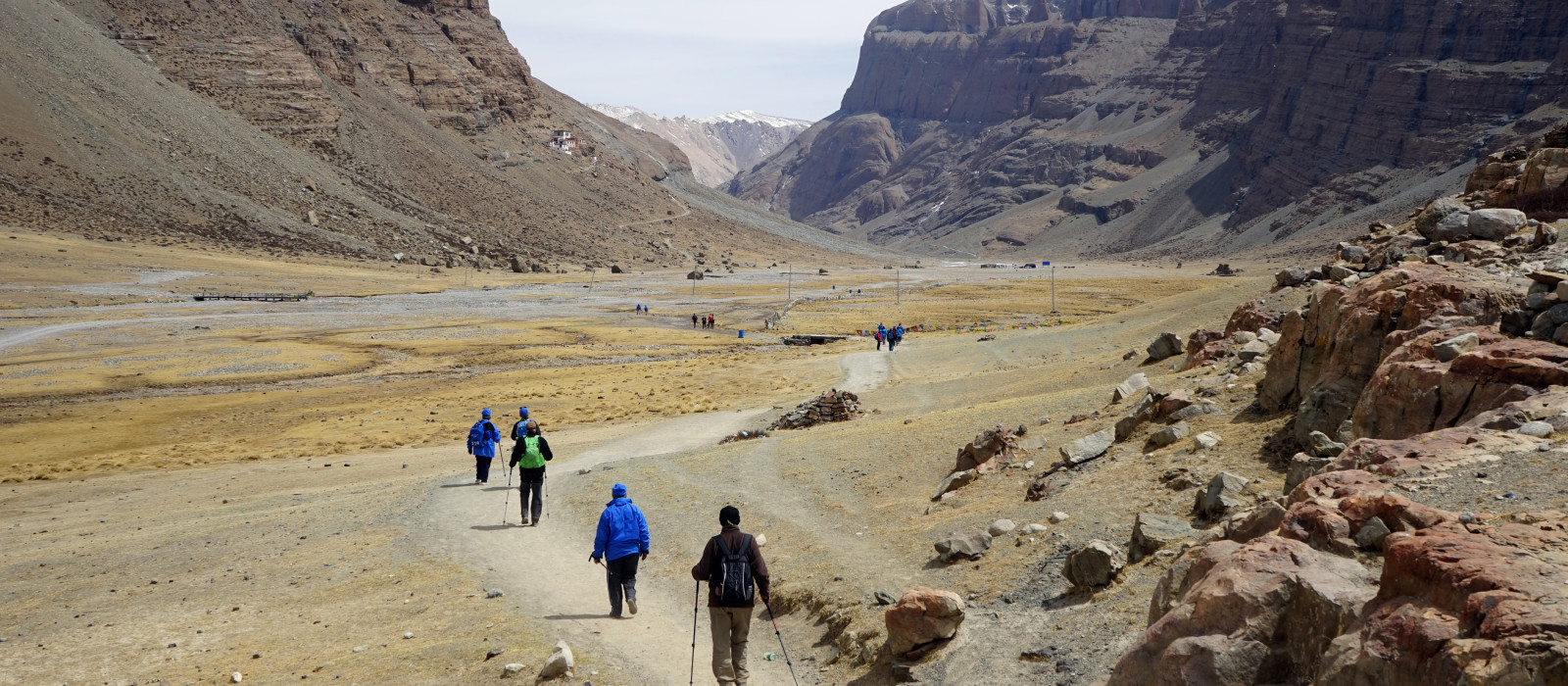 Kailash mount and backpackers in Tibet, Asia