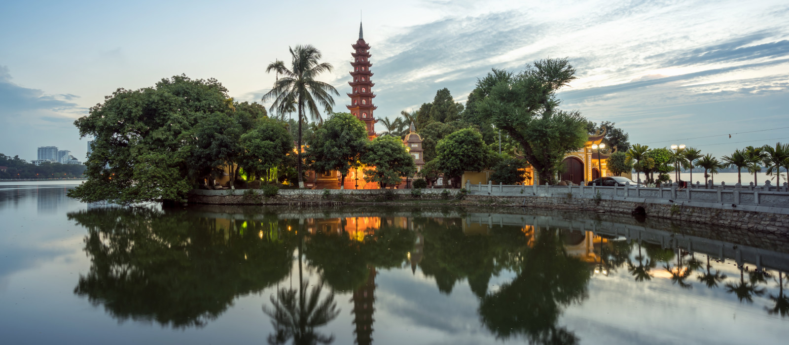 Tran Quoc pagoda during sunset time, the oldest temple in Hanoi, Vietnam. Hanoi cityscape