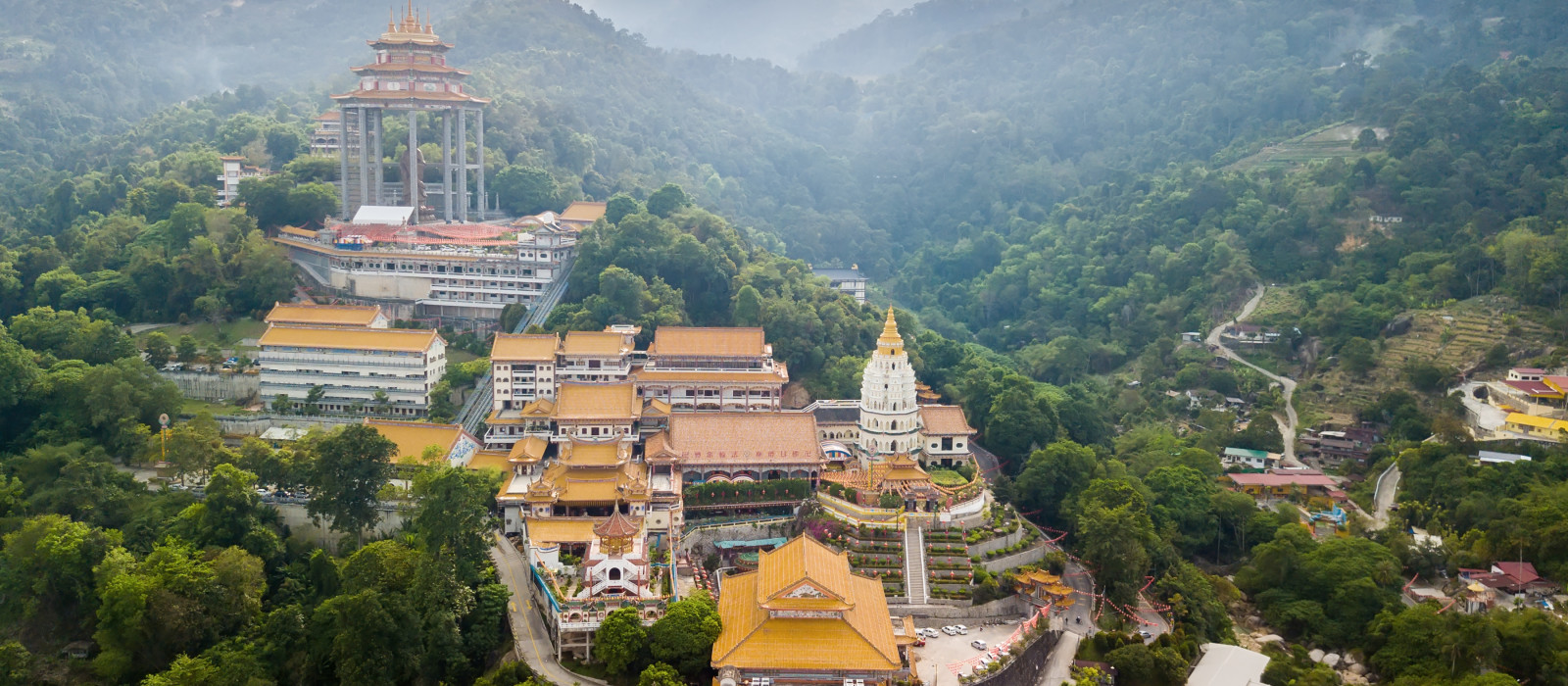 Aerial shot over the Kek Lok Si temple in Penang island, Malaysia, Asia