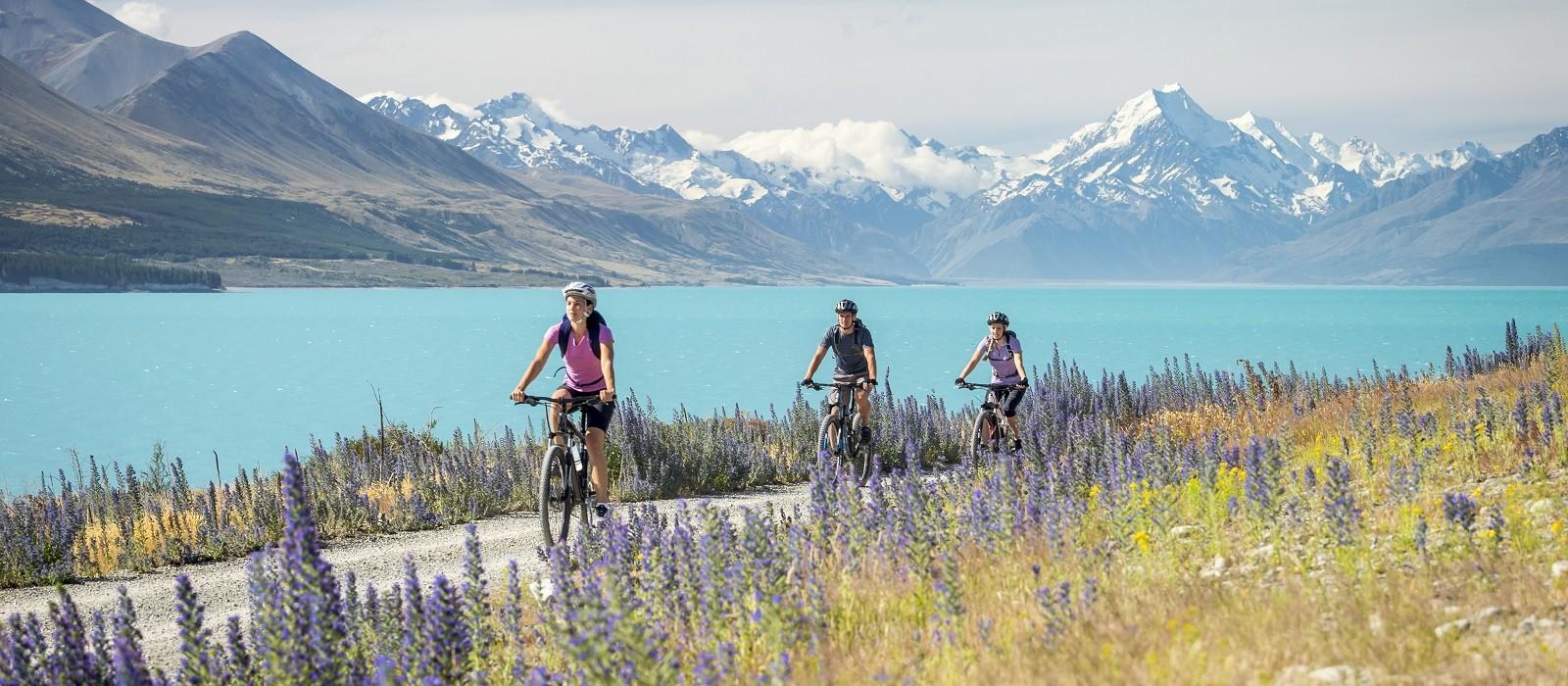 Radfahrer auf einem Radweg neben dem Pukaki-See in Canterbury Miles Holden, Neuseeland
