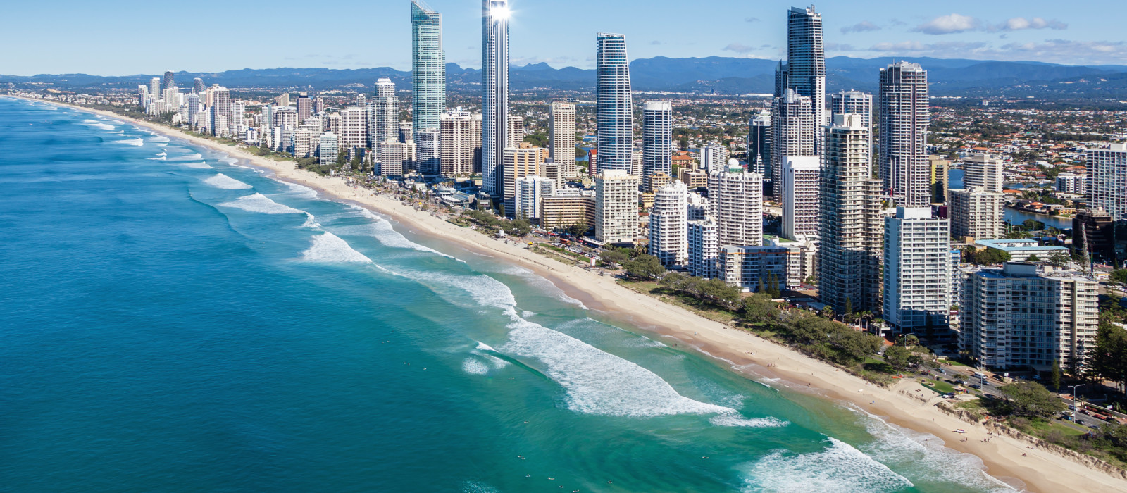 An aerial view of Surfers Paradise on the Gold Coast, Australia oceania tours