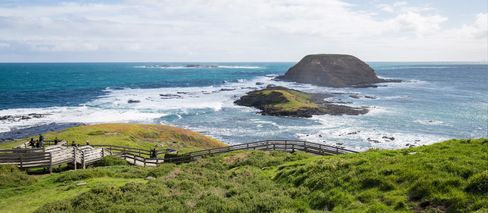 Nobbies in Phillip Island with an clean and windy winter weather and very blue sea