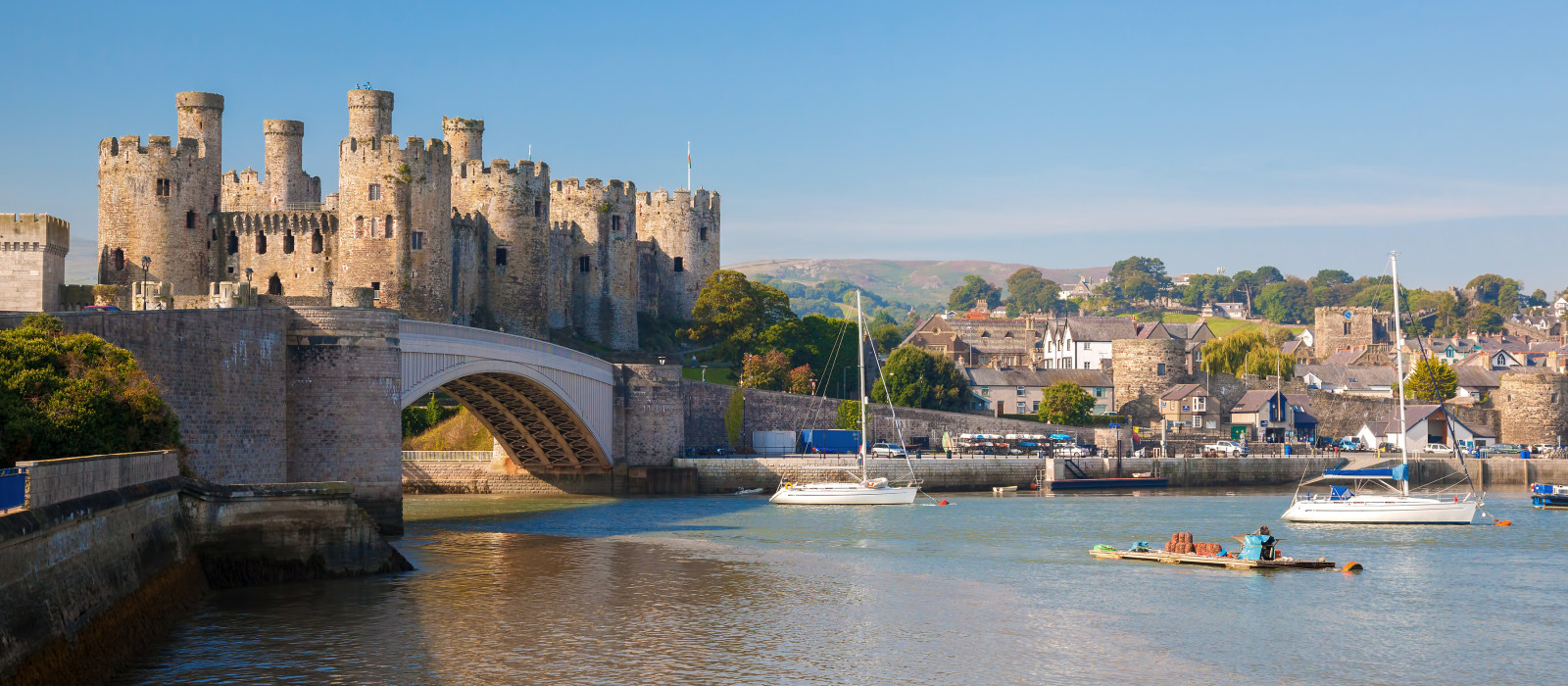 Famous Conwy Castle in Wales, United Kingdom, series of Walesh castles, Europe