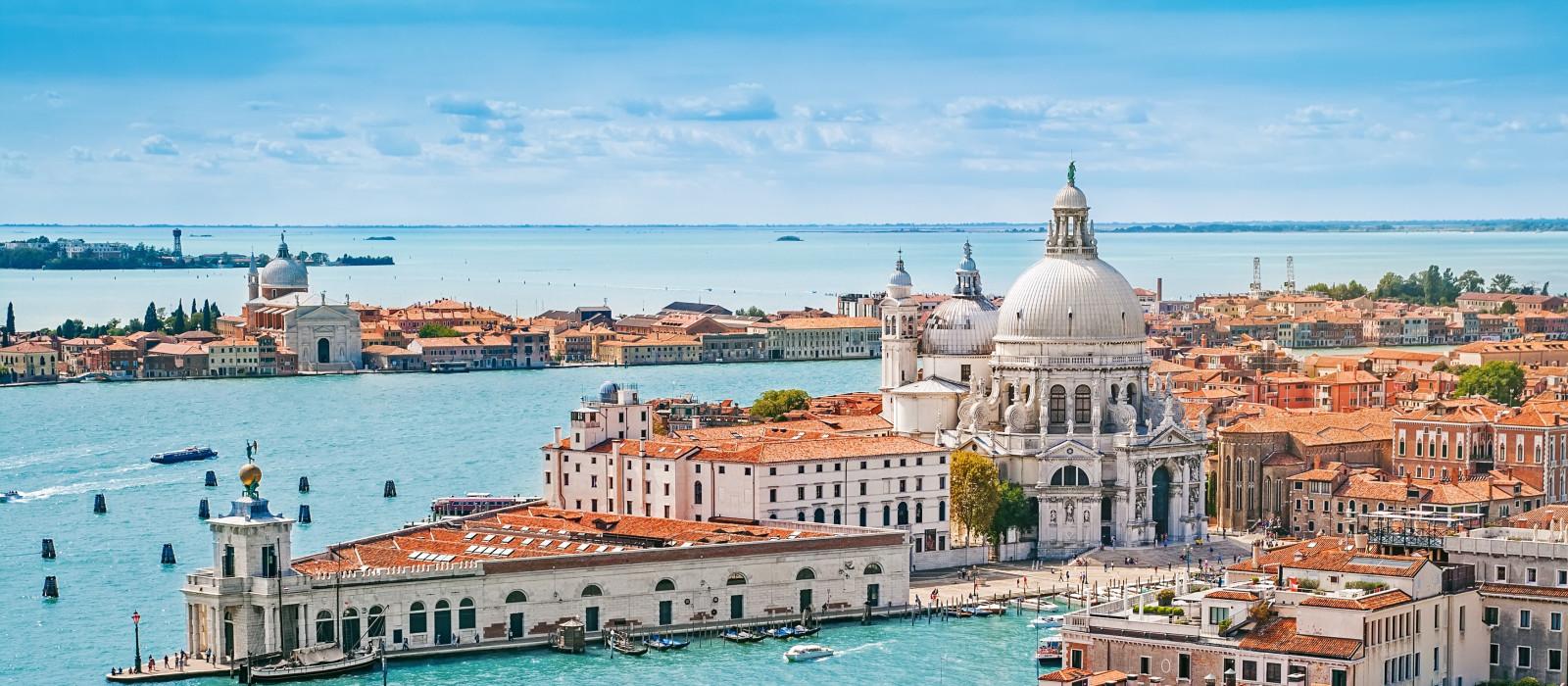 Panoramic aerial cityscape of Venice with Santa Maria della Salute church, Veneto, Italy