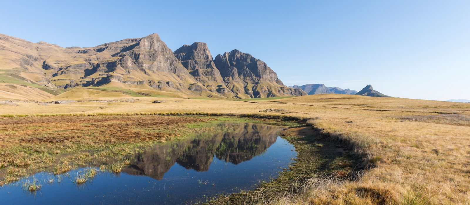 Mountain reflection in the lake, South Africa