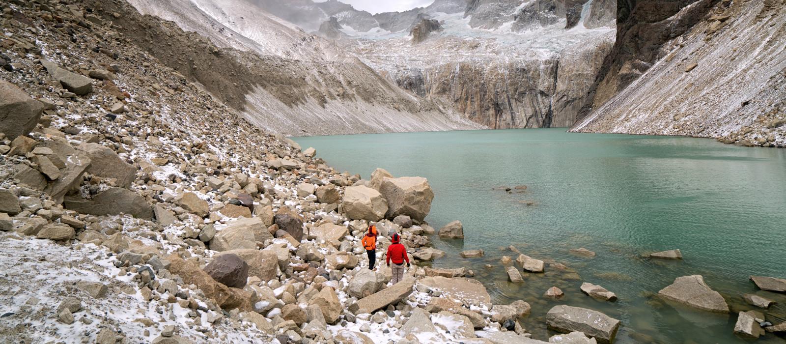 Wanderung zum See des Torres del Paine Nationalparks, Patagonien, Chile, Südamerika