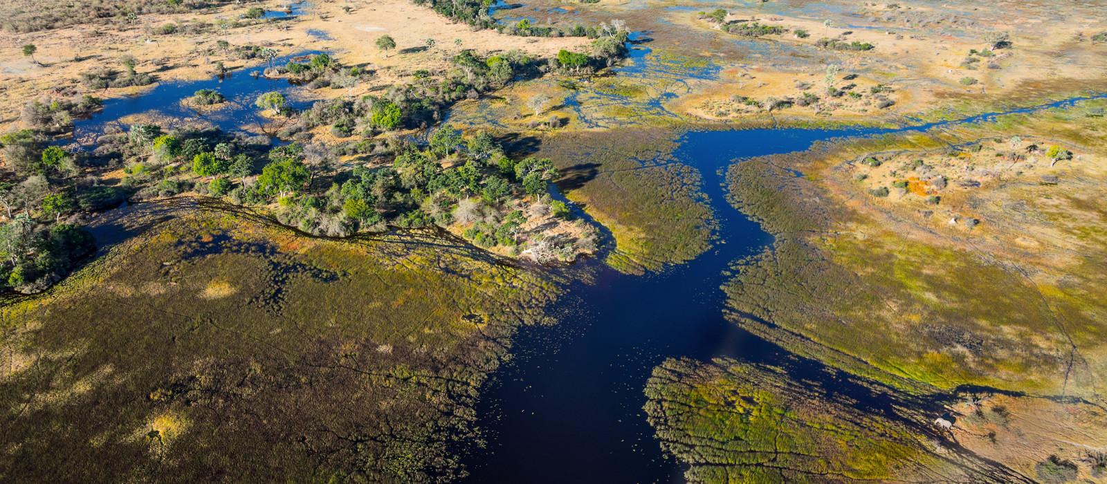 Vogelperspektive des Okavango-Delta in Botswana in Afrika