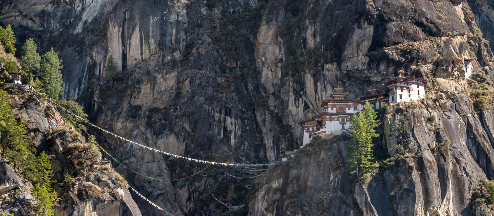 Panorama view of famous Tiger's Nest in Bhutan, Asia