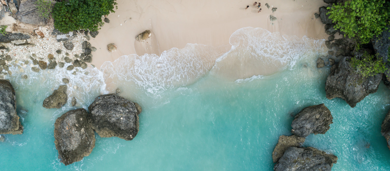 Top Aerial view of impossible Beach in Bali, Indonesia, Asia