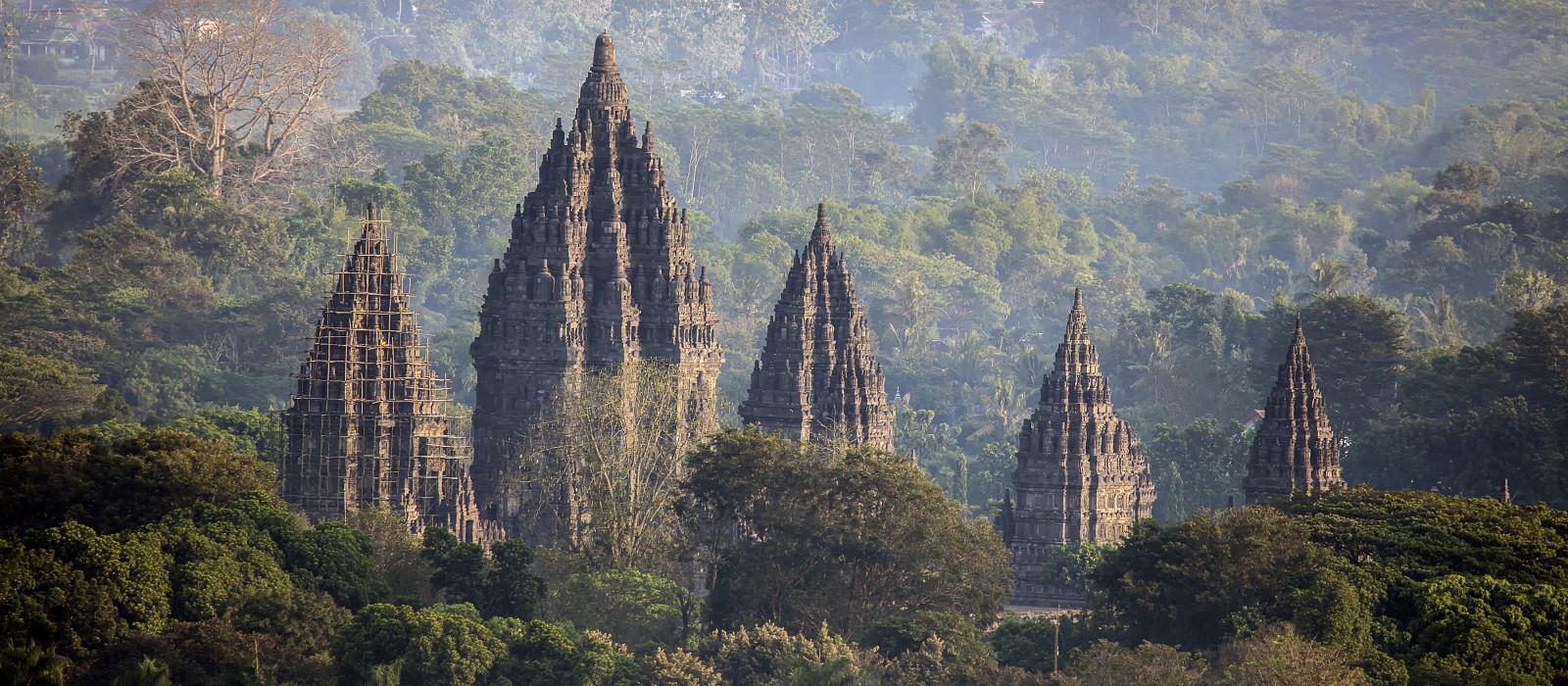 Mystical Prambanan Temple in the Morning, Indonesia, Asia