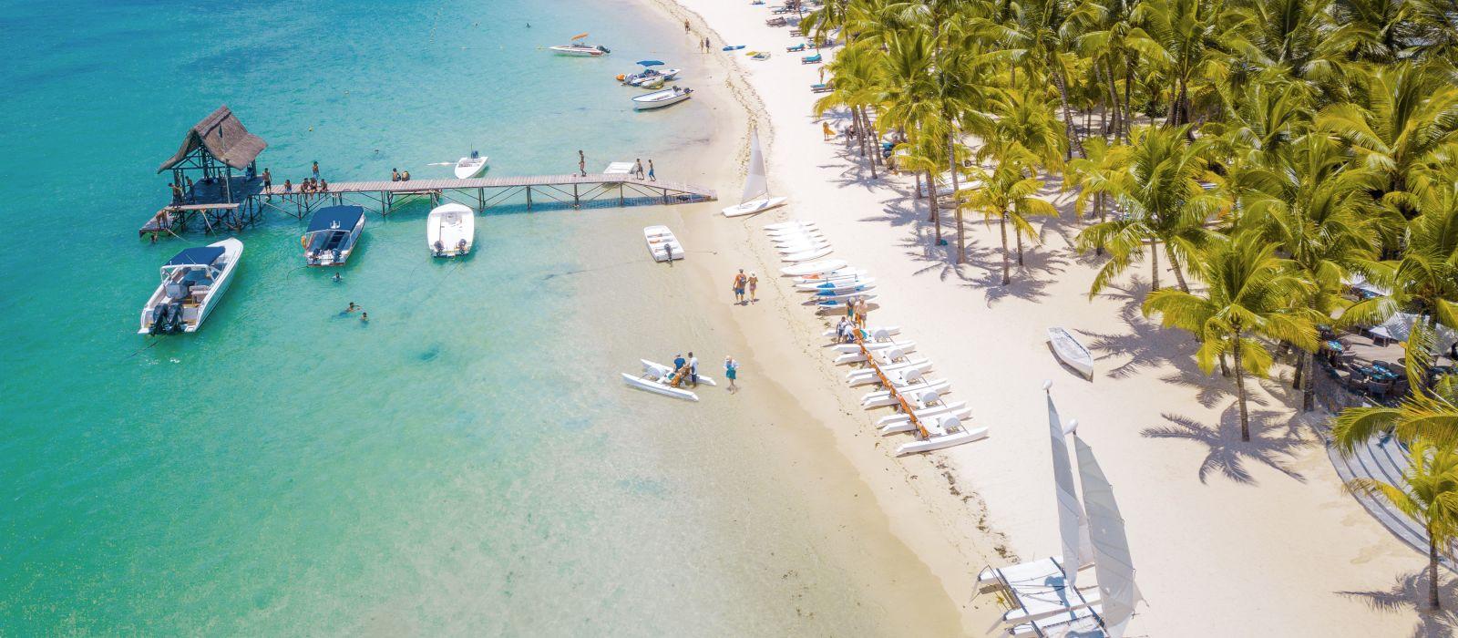 Aerial view on beautiful beach in Trou aux Biches, Mauritius