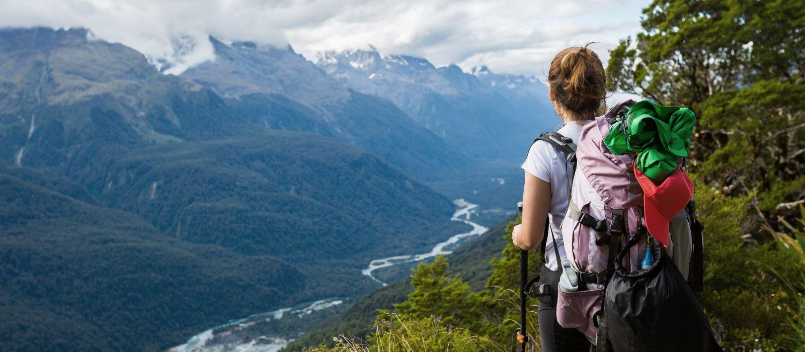 Woman trekking in New Zealand