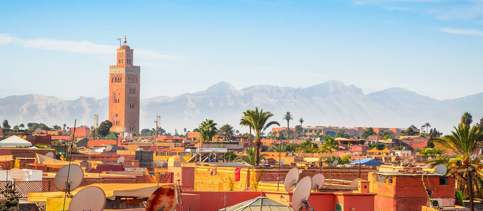 Enchanting Travels Morocco Tours Panoramic view of Marrakech and old medina, Morocco - history of Morocco