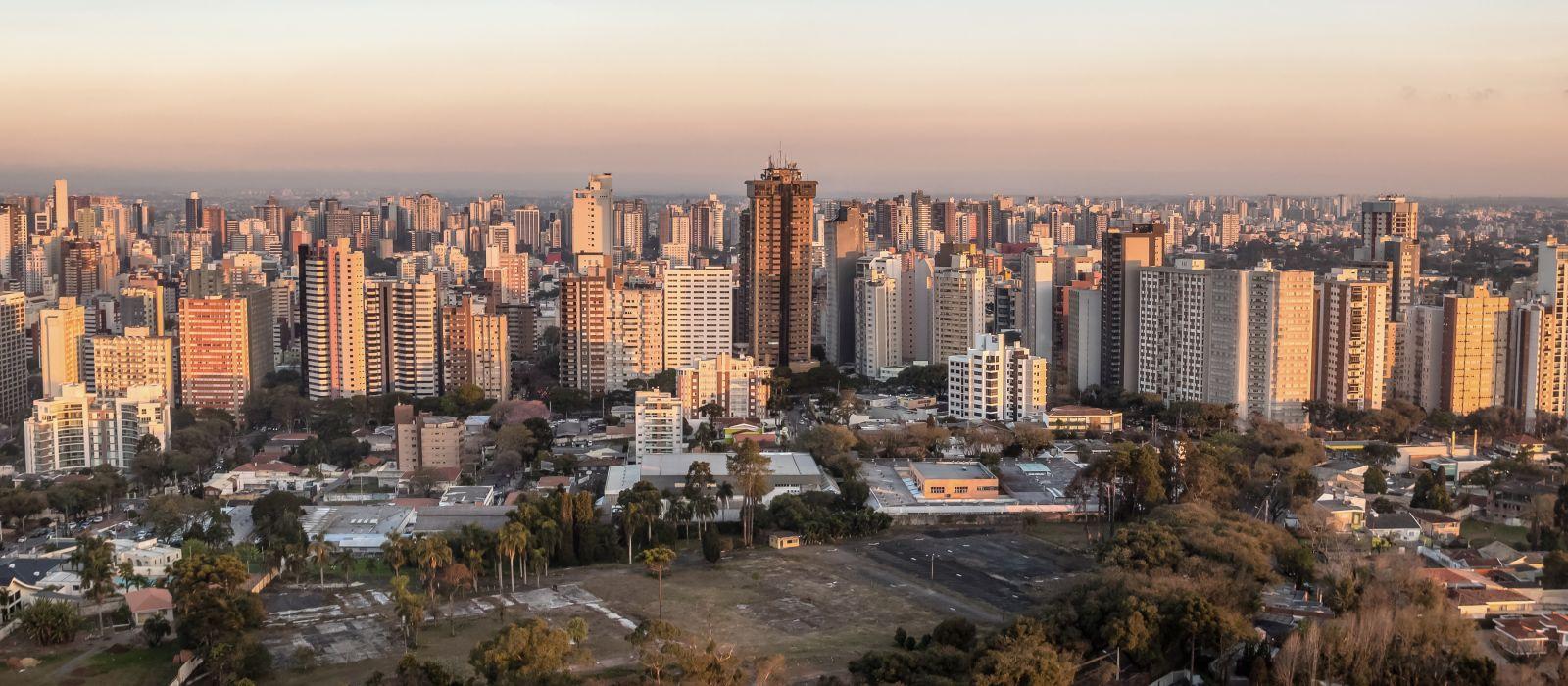 Aerial view of Curitiba City at sunset - Curitiba, Parana, Brazil, South America