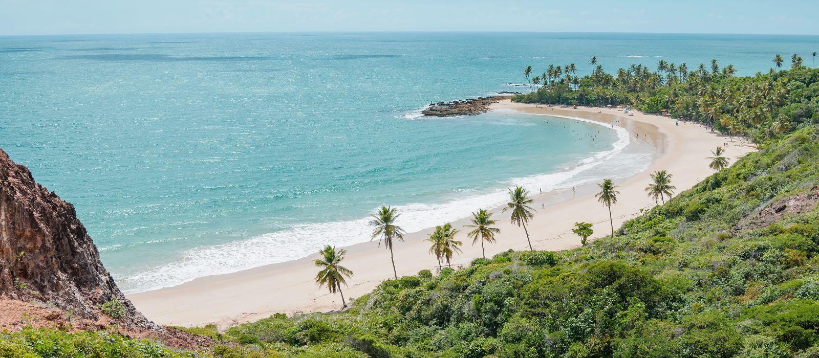 Top view of Praia de Coqueirinho at Costa do Conde, Brazil, South America