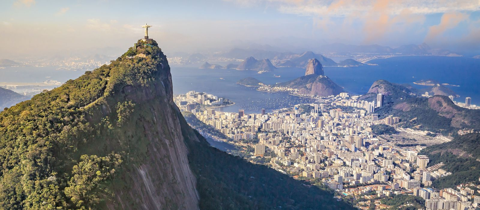 Aerial view of Rio de Janeiro city skyline in Brazil, South America