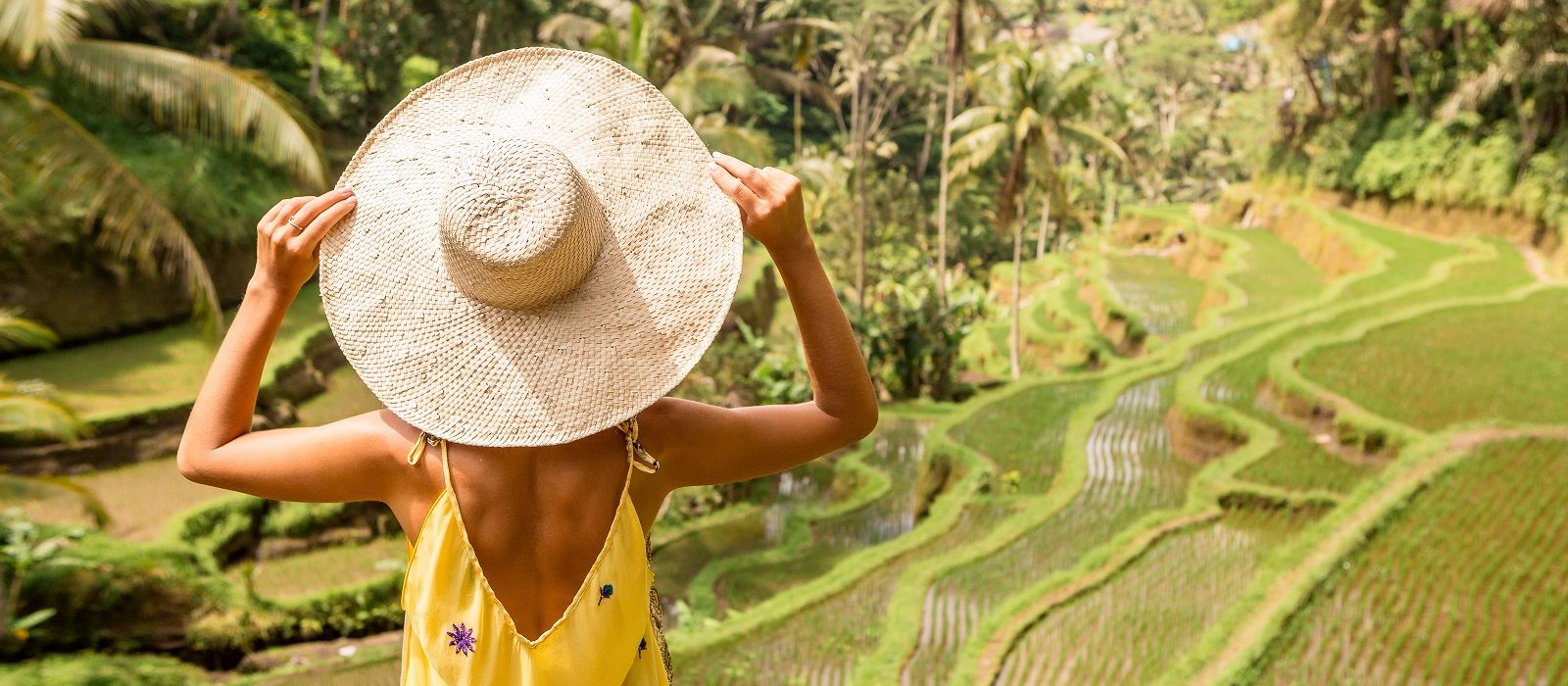 Is Indonesia safe? Beautiful young lady in shine through dress touch straw hat. Girl walk at typical Asian hillside with rice farming, mountain shape green cascade rice field terraces paddies. Ubud, Bali, Indonesia