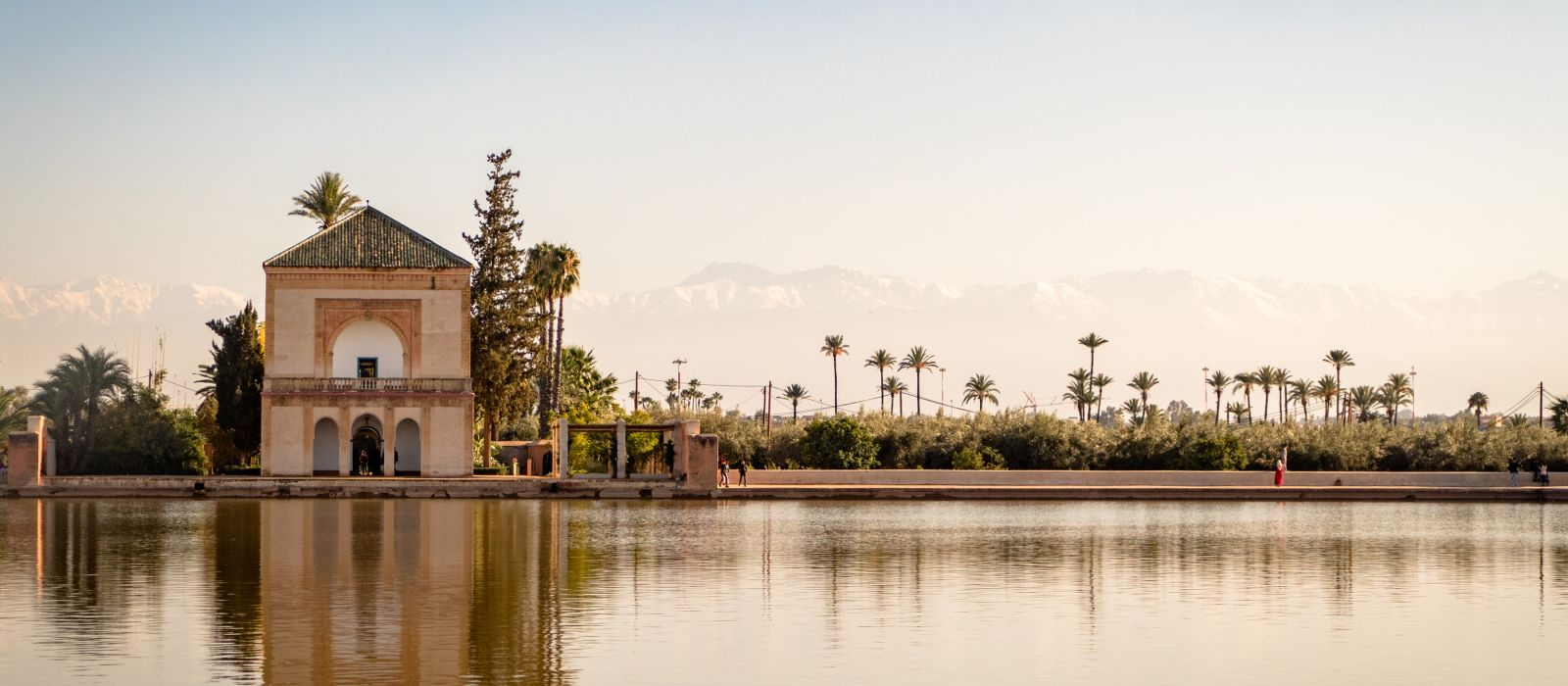 The Menara gardens are botanical gardens located to the west of Marrakech, Morocco, near the Atlas Mountains