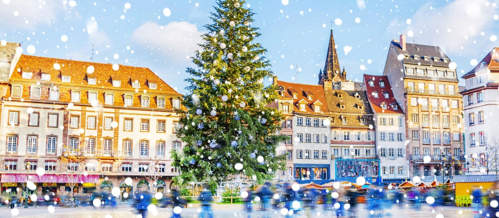 Christmas tree and xmas market at Kleber Square in medieval city of Strasbourg