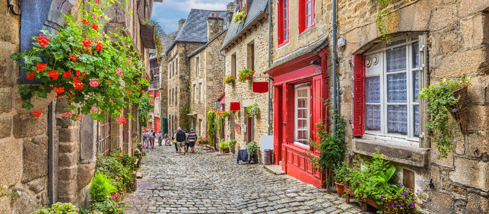 Old town in Europe with blue sky and clouds, France Tours, Europe