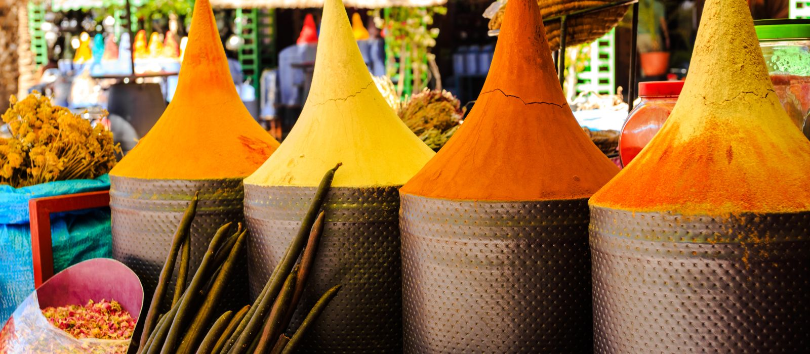Spice stall in Marrakech - cuisine in Morocco