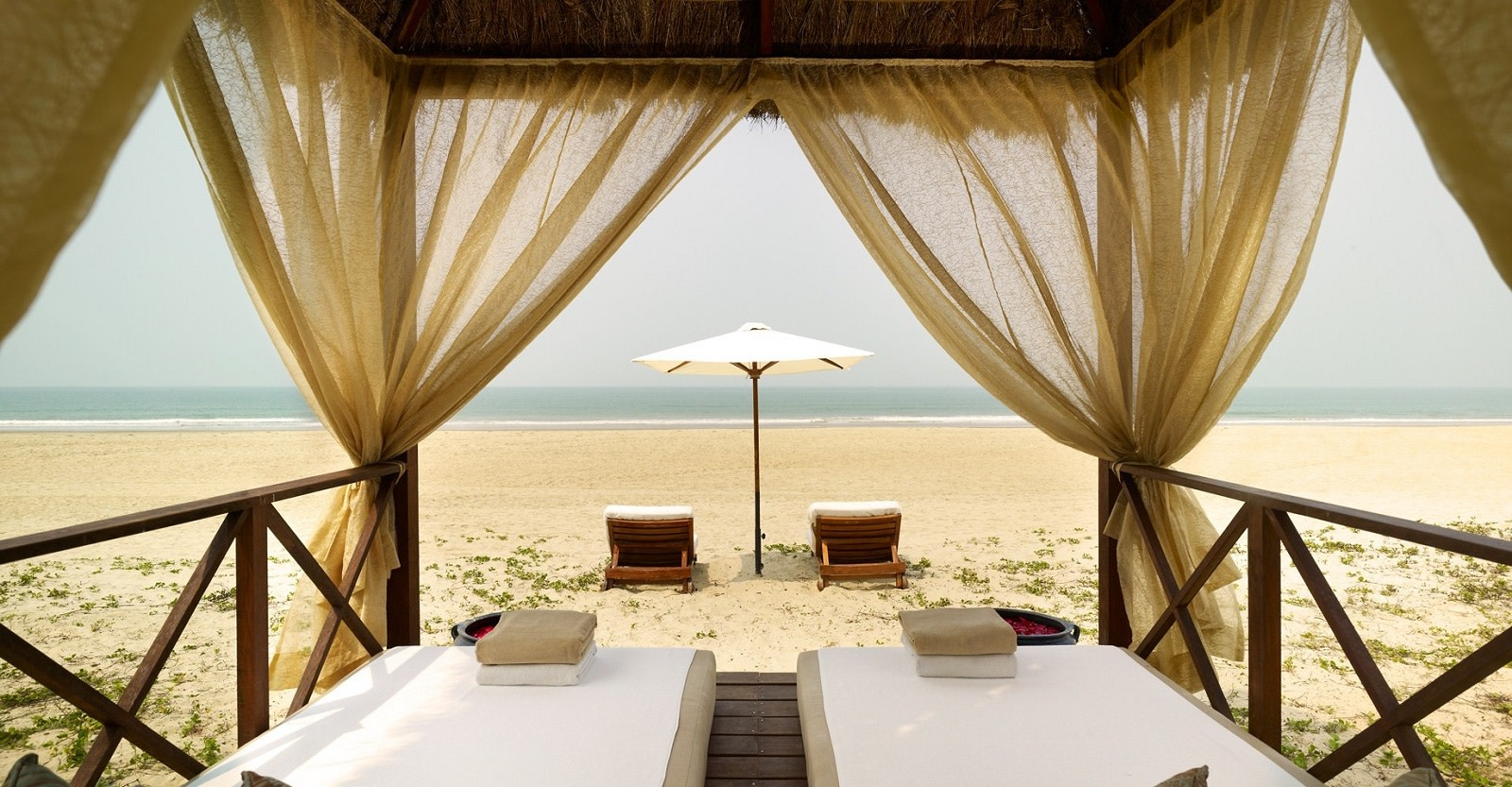 Deckchairs at the beach at Park Hyatt Goa Resort & Spa in Goa, Central & West India