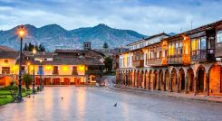 Cusco Peru Plaza de Armas colonial spanish architecture in Andes Mountains