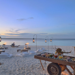 Romantic dinner at the beach at hotel Mnemba Island Lodge, Zanzibar, Tanzania - Perfect for Winter travel