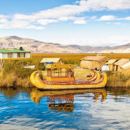 Traditional reed boat lake Titicaca in Peru