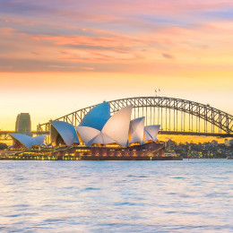 Enchanting Travels Australia Tours Downtown Sydney skyline in Australia at twilight