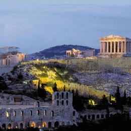 Akropolis in der Abenddämmerung, Griechenland