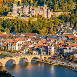 View on Heidelberg at autumn, Germany, Europe
