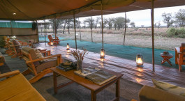 Covered lounge area at Serengeti Wilderness Camp in Central Serengeti, Tanzania