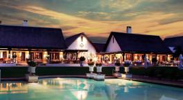 Außenansicht des Royal Livingstone Hotel, Victoria Falls, Sambia