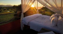 Double bed in the nature at Kapama Southern Camp, Kruger in South Africa