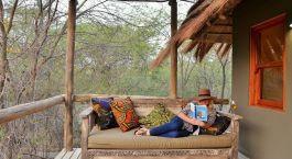 Balcony at hotel Chobe Bakwena Lodge in Chobe National Park, Botswana