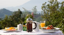 Breakfast at hotel Clouds Estate in Winelands, South Africa