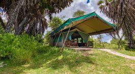 Tent exterior at Lake Manze Camp Hotel in Selous, Tanzania