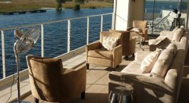 Lounge of Zambezi Queen, Chobe River in Botswana