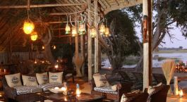 Lounge by night at Pom Pom Camp in Okavango Delta, Botswana